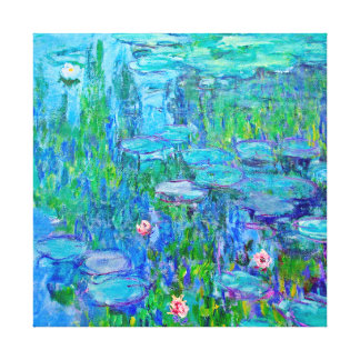 Fresh Blue Water Lily Pond Monet Fine Art Gallery Wrap Canvas