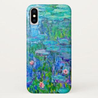 Fresh Blue Water Lily Pond Monet Fine Art iPhone X Case