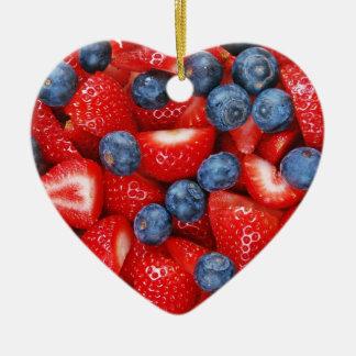 Fresh blueberries and strawberries ceramic heart ornament