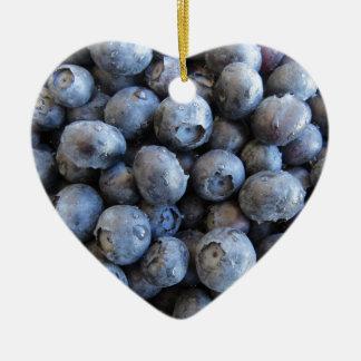 Fresh Blueberries Photograph Ceramic Heart Ornament