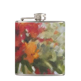 fresh bouquet flowers Watercolor Art Painting Hip Flask