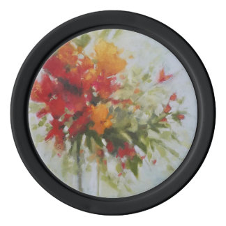 fresh bouquet flowers watercolor art painting poker chips