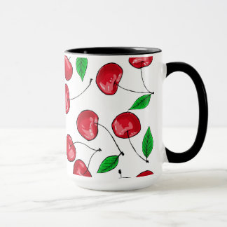 Fresh cherries pattern mug