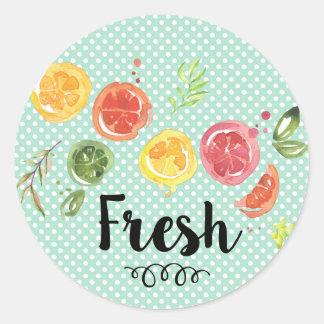 Fresh -  Citrus Fruits in Watercolor Classic Round Sticker
