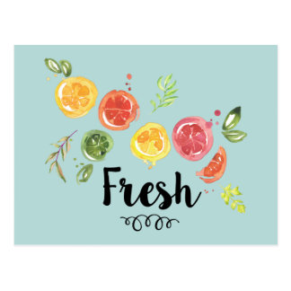 Fresh -  Citrus Fruits in Watercolor Postcard