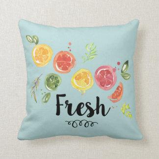 Fresh -  Citrus Fruits in Watercolor Throw Pillow