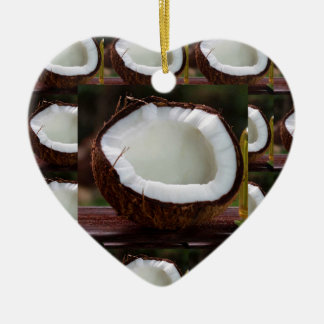 Fresh Coconut chefs healthy flavour cuisine foods Ceramic Heart Ornament