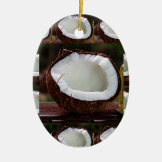 Fresh Coconut chefs healthy flavour cuisine foods Ceramic Oval Ornament