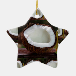 Fresh Coconut chefs healthy flavour cuisine foods Ceramic Star Ornament