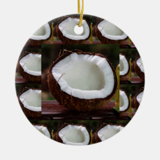 Fresh Coconut chefs healthy flavour cuisine foods Round Ceramic Ornament