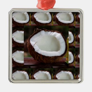 Fresh Coconut chefs healthy flavour cuisine foods Silver-Colored Square Ornament