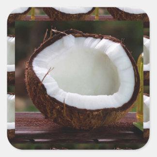 Fresh Coconut chefs healthy flavour cuisine foods Square Sticker