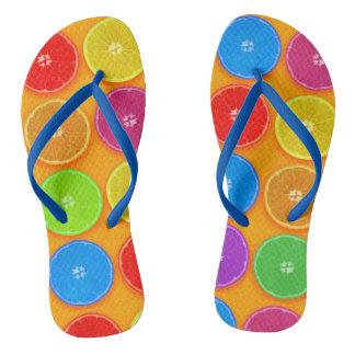 Fresh Colorful Orange Slices Flip Flops