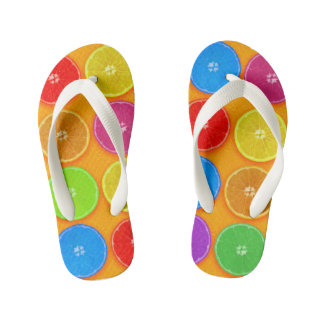 Fresh Colorful Orange Slices Kid's Flip Flops