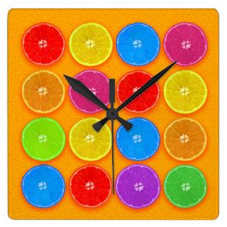 Fresh Colorful Orange Slices Square Wall Clock