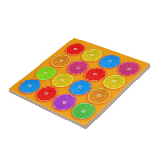 Fresh Colorful Orange Slices Tile