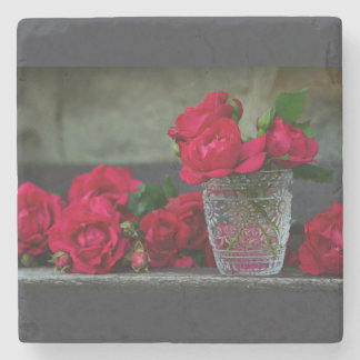 Fresh-Cut Red Roses Stone Coaster