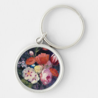 Fresh Cut Spring Flower Silver-Colored Round Keychain