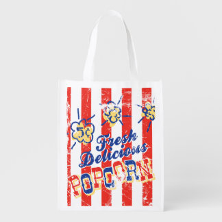 Fresh Delicious Popcorn Retro Grocery Bag