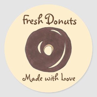 Fresh Donuts Made with Love Baked Baking Stickers