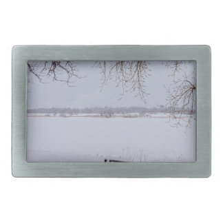 Fresh Fallen Snow Rectangular Belt Buckle