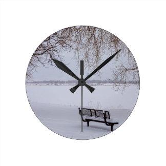 Fresh Fallen Snow Round Clock