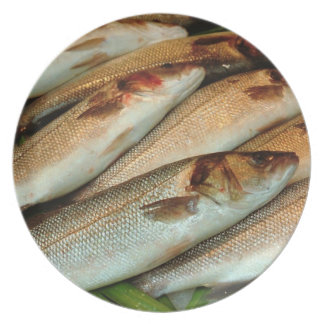Fresh Fish on Ice with Green Leaves Dinner Plates