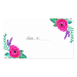 Fresh Florals Guest Table Escort Cards Double-Sided Standard Business Cards (Pack Of 100)