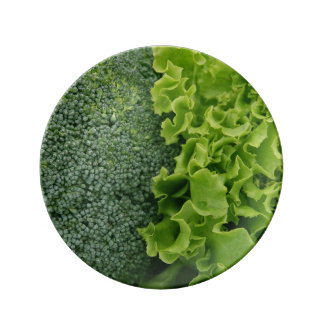 Fresh Food Lettuce and Broccoli Porcelain Plate
