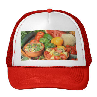 Fresh fruit and vegetables hats