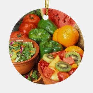 Fresh fruit and vegetables round ceramic ornament