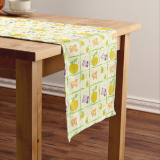 "Fresh Fruit & Butterflies 14"" X 72"" Table Runner"
