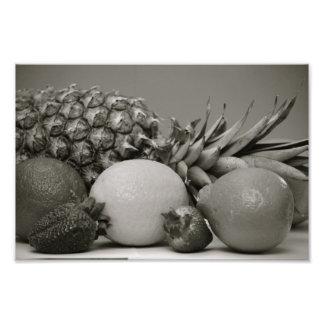 Fresh Fruit in Black and White Art Photo
