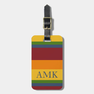 Fresh Fruit Palette Stripe Monogram Luggage Tag