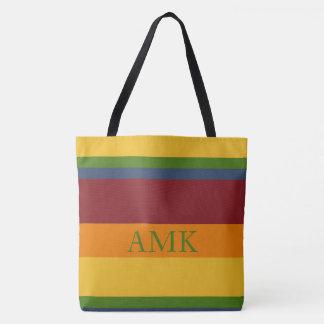 Fresh Fruit Palette Stripe Monogram Tote Bag