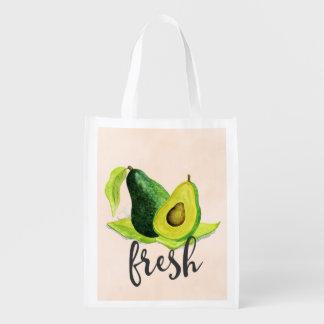 Fresh Green Avocado Still Life Fruit in Watercolor Reusable Grocery Bag