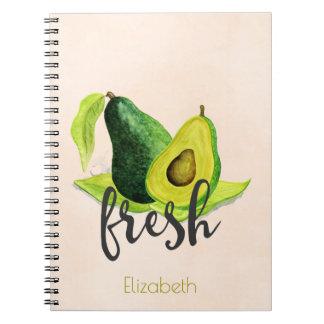 Fresh Green Avocado Still Life Fruit in Watercolor Spiral Notebook