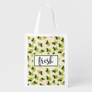 Fresh Green Avocados Watercolor Pattern Reusable Grocery Bag