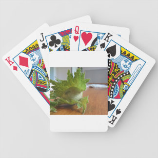 Fresh green hazelnuts on a wooden table bicycle playing cards