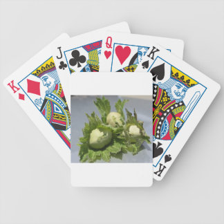 Fresh green hazelnuts on glittering background bicycle playing cards