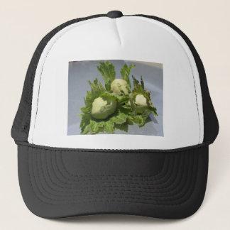 Fresh green hazelnuts on glittering background trucker hat