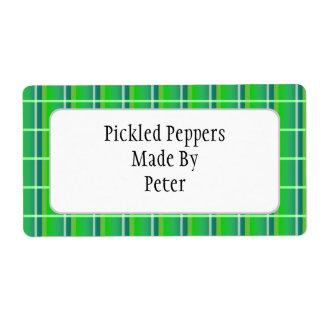 Fresh Green Plaid Custom Canning Labels