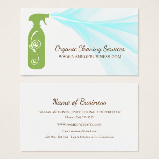 Fresh Green Spray Bottle Organic Cleaning Services Business Card