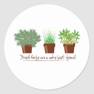 Fresh Herbs Are A Cook Classic Round Sticker
