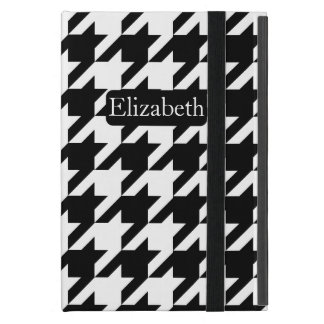 Fresh Houndstooth Pattern and Name Black and White Case For iPad Mini