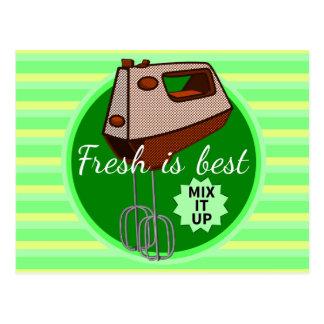 Fresh is best retro mixer design postcard
