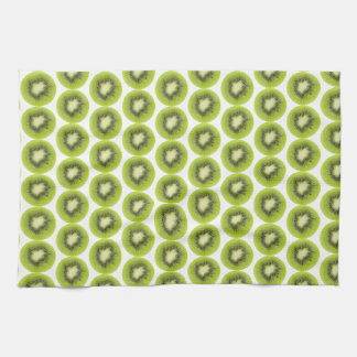 Fresh kiwi fruit background. Round slices pattern Kitchen Towel