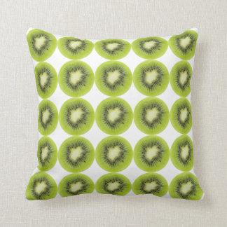 Fresh kiwi fruit background. Round slices pattern Throw Pillow