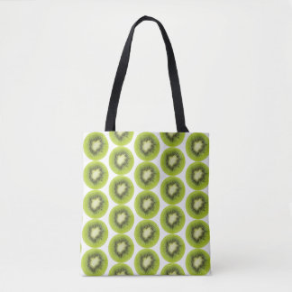 Fresh kiwi fruit background. Round slices pattern Tote Bag