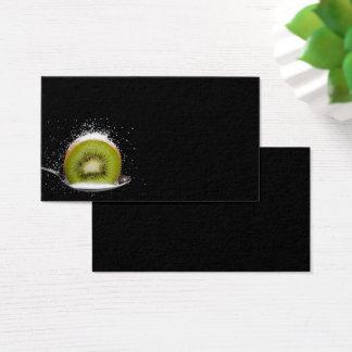 Fresh kiwi fruit on a spoon business card